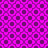 Black on magenta club and circle seamless repeat pattern background vector illustration