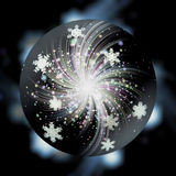 Black magic ball with snowflakes, glowing fireworks and stars. Black sphere with snowflakes and rays on a dark blurred background Stock Photo