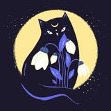 Black magic cat with snowdrops in the background of the moon.Vector illustration. Black magic cat with snowdrops in the background of the moon.Vector Stock Photography