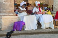Black magic Cuban women with black cat, fortune teller, Havana, Cuba. Formal black magic woman with white clothes. Black cat sitting in front of tables royalty free stock photos