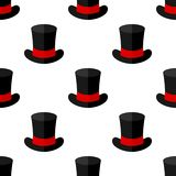 Black Magic Hat Flat Icon Seamless Pattern Stock Photography