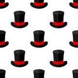 Black Magic Hat Flat Icon Seamless Pattern Stock Photography