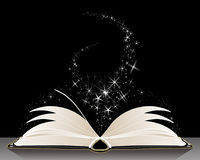 Black magic book with sparkles on a dark background royalty free illustration