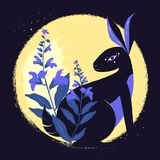 Black magic rabbit with salvia in the background of the moon.Vector illustration. Black magic rabbit with salvia in the background of the moon.Vector Stock Photo