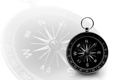 Black magnetic portable compass on white Stock Photos