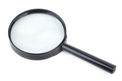 Black magnifier. Isolated on a white background Royalty Free Stock Photography