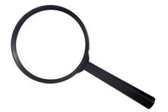 Black magnifying glass from the top Royalty Free Stock Images
