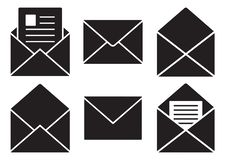 Black mail icons. Vector illustration stock illustration