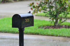 Black mailbox in the rain Stock Images