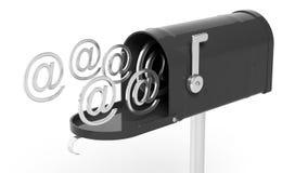 Black mailbox with @ symbols Stock Image