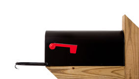 A black mailbox on a wooden post Royalty Free Stock Photo