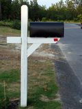 Black Mailbox on Wooden Stand Stock Photo