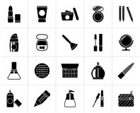 Black Make-up and cosmetics icons. Vector icon set Stock Photos