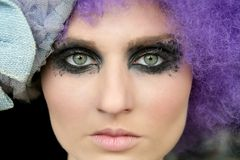 Black makeup eye shadows model Stock Image