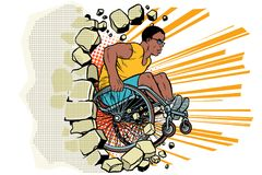 Black male athlete in a wheelchair punches the wall. African American person in sports. Barrier-free environment for disabled. pop art retro vector vector illustration