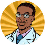 Black male doctor African American pop art avatar character icon Stock Photo