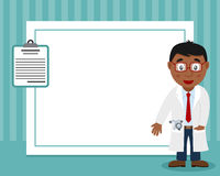 Black Male Doctor Horizontal Photo Frame. A funny horizontal photo frame with a cute cartoon black male doctor and a medical record, on blue background. Eps file Royalty Free Stock Images