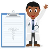 Black Male Doctor with Medical Record Royalty Free Stock Image