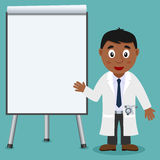 Black Male Doctor and Presentation Board. A cartoon black male doctor presenting or showing something in front of a blank presentation board, isolated on blue Royalty Free Stock Image