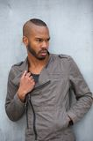 Black male fashion model posing outdoors Stock Image