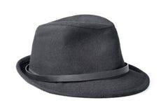 Black male felt hat isolated on white Stock Photo