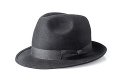 Black male felt hat isolated on white Royalty Free Stock Photos