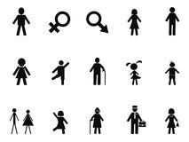 Black male female stick figure icons set. Isolated black male female stick figure icons set from white background Royalty Free Stock Photo