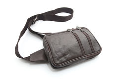 Black male leather bag. With mobile phone holder Isolated on white Stock Image