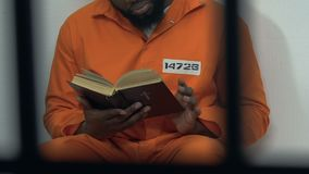 Black male prisoner reading holy bible in cell, hope for forgiveness, penance stock footage