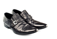 Black male shoes with buckle Royalty Free Stock Photography