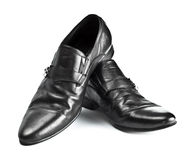 Black male shoes with buckles Stock Images
