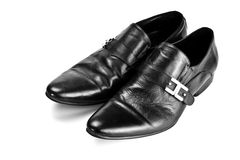 Black male shoes with buckles. Isolated on white Stock Photography