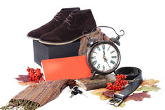 Black male shoes with clock Royalty Free Stock Image