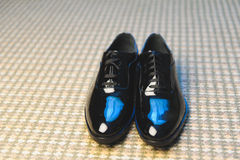 Black Male Shoes. Groom's shoes on carpet with blue reflection Stock Image