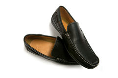 Black male shoes isolated Stock Image