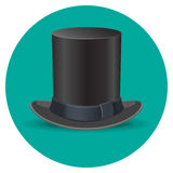 Black male top hat isolated on green circle Royalty Free Stock Photography