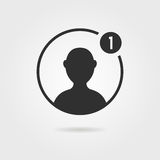 Black male user icon with shadow. Concept of networking, customers, simple ui element, leader torso, character.  on gray background. flat style trend modern Stock Image