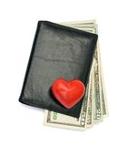 Black male wallet. Dollars in black male wallet isolated on white background Stock Photo