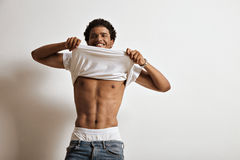 Black male in white t-shirt Royalty Free Stock Photos