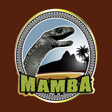 Black Mamba green beach emblem Royalty Free Stock Image