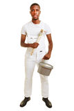 Black man as painter with brush Stock Photo