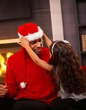 Black man as santa claus Stock Photography