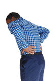 Black man with backache. stock photo
