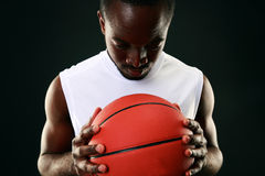 Black man with backetball ball Royalty Free Stock Photo