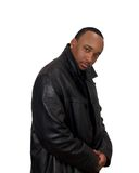 Black Man in Black Jacket. Young Black Man in Black Jacket with earring Stock Image