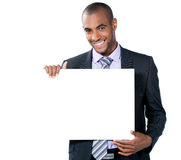 Black man with blank sign Stock Images