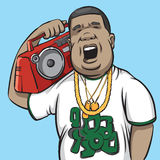 Black man with boombox on shoulder. Vector illustration of black man with boombox on shoulder Royalty Free Stock Photo