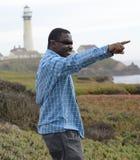 Black Man at the California Coast. Black man gazing at the coast Stock Photo
