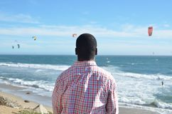 Black man at the California Coast Stock Images