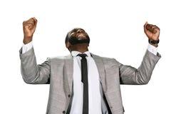 Black man celebrating sucess. Stock Images
